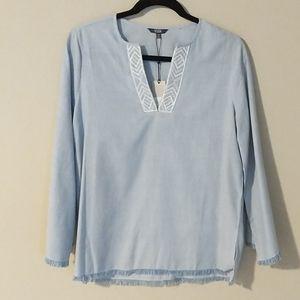 NYDJ Fray Edge Bell Sleeve Blouse XS Blue White